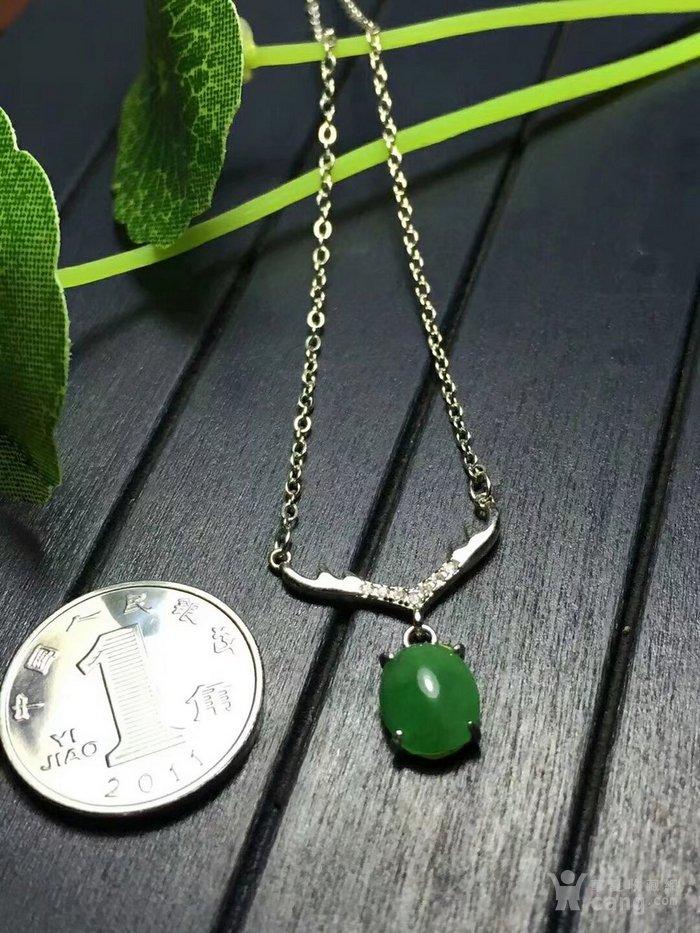 天然缅甸翡翠A货925银镶嵌时尚吊坠女款