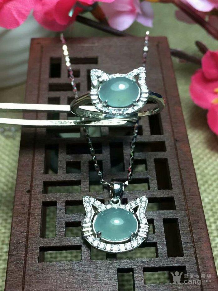 天然缅甸翡翠A货925银镶嵌碎钻时尚套装秒杀