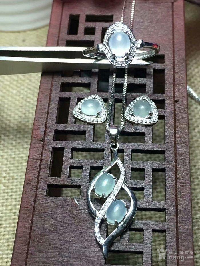 天然缅甸翡翠A货925银镶嵌碎钻时尚女款套装秒杀