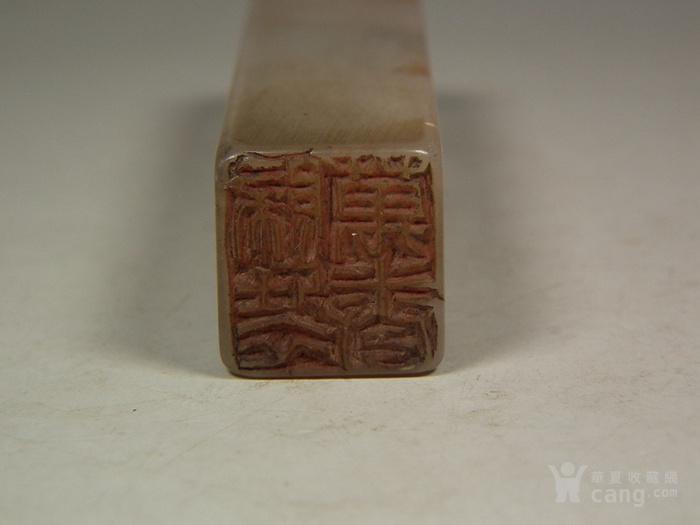 老淡色寿山石浮雕花鸟纹长方形印章图5