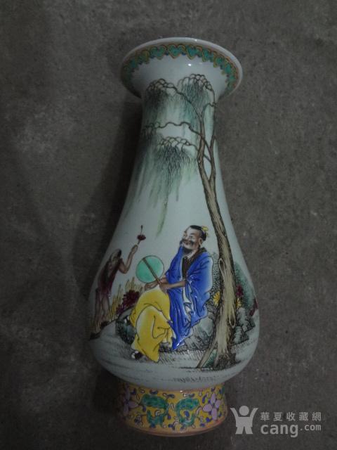 粉彩茂叔爱莲赏瓶