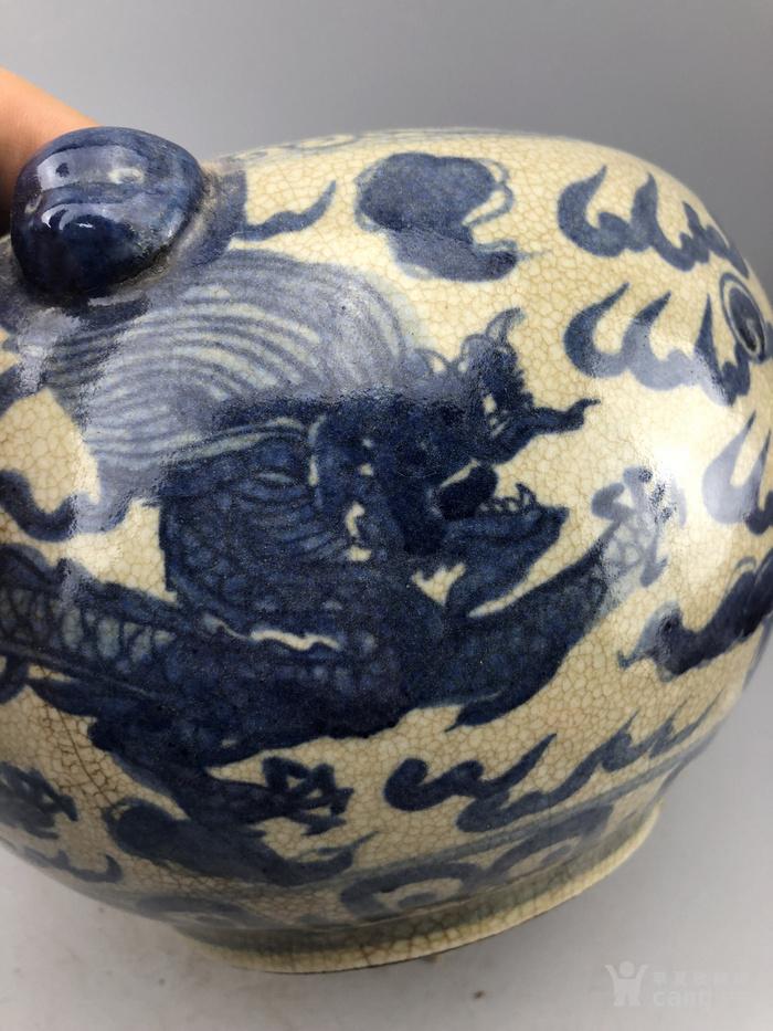 青花纹龙瓷罐C0353
