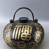 福寿花卉铜暖壶C0498