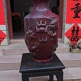 一个解放后老石湾猪肝红双龙戏珠大花瓶