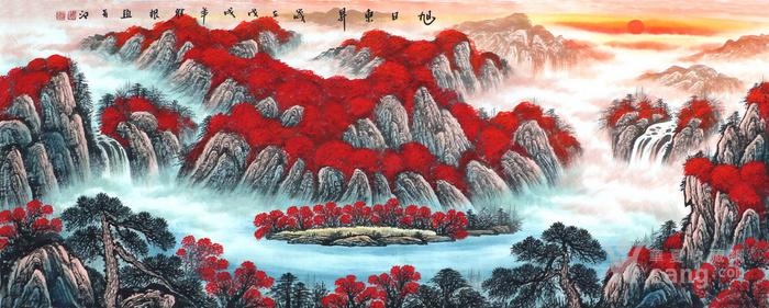 周维根纯手绘国画山水字画小六尺满山红聚宝盆风水画