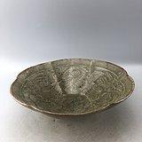 绿釉花卉瓷碗C0595