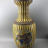 粉彩龙凤开片大瓷瓶C0596