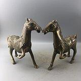 一对老铜马摆件C0615