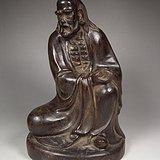 老酸枝木圆雕执钵罗汉坐像