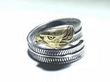 日本 回流 纯银 鎏金 鹰羽 戒指 工艺精美
