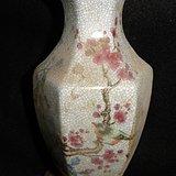 一方顶三圆 哥窑有款六梭喜鹊梅花瓶。