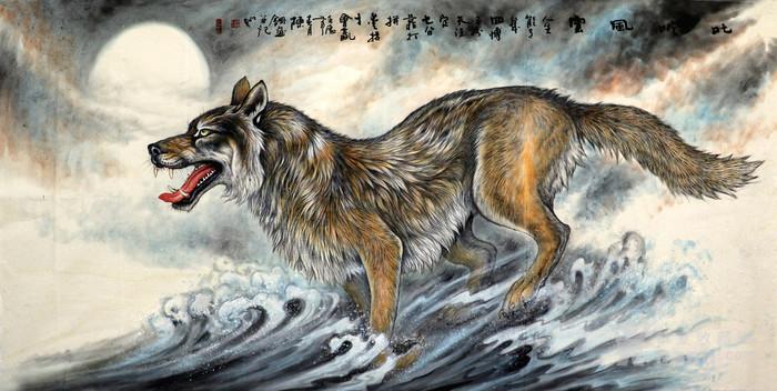陈钢纯手绘国画字画收藏走兽大八尺狼工笔画狼行千里