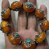 稀少的藏传 蜜蜡镶宝石 宝珠 陪珠 手链 工艺独特