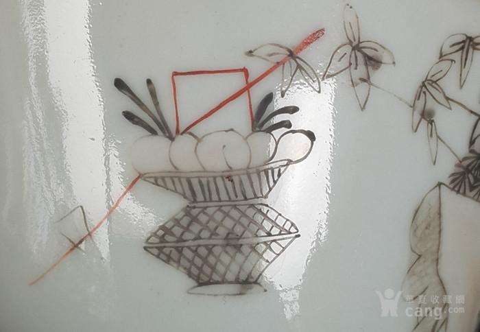 同治墨彩细路人物茶碗。