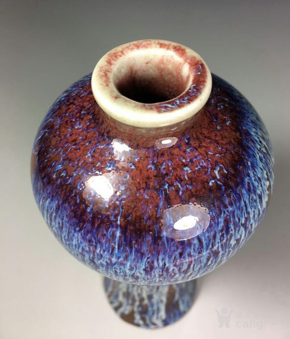 清中期,窑变釉梅瓶。