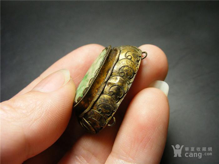 清代江南老银鎏金花丝工镶老坑A货飘阳绿翡翠大帽正 值得收藏