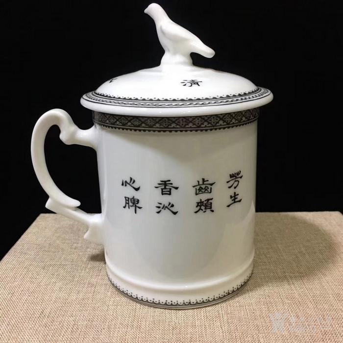 王希怀手绘粉彩人物茶杯