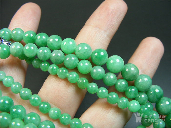 八九十年代A货新工满正阳绿翡翠圆珠项链一条 恕不议价