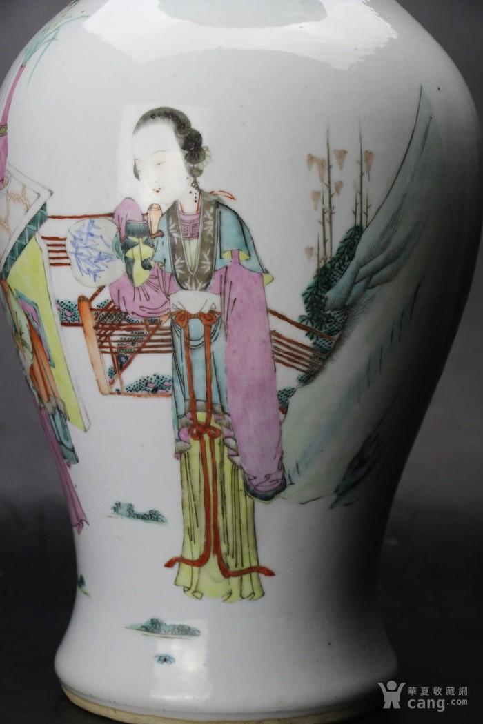 清光绪俞意诚作精品粉彩人物故事纹竹节耳大瓶