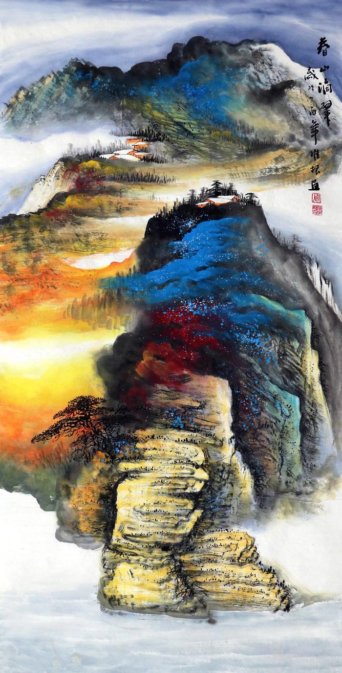 周维根纯手绘国画山水水墨字画四尺竖幅泼彩峡江图