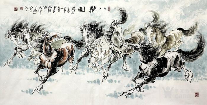 陈天祥真迹纯手绘国画字画四尺走兽八马八骏图马到成功