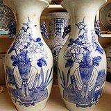 清代晚期青花150件博古大瓶  北方窑口