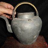 清传世双精铜提把.老锡茶壶。