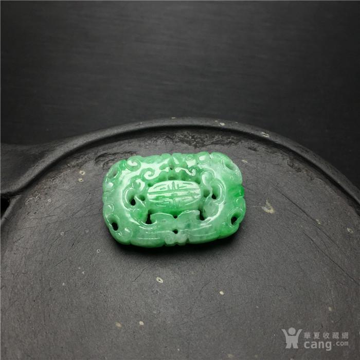 B9文玩a233创汇期糯冰种飘阳绿翡翠团寿龙纹背云吊坠