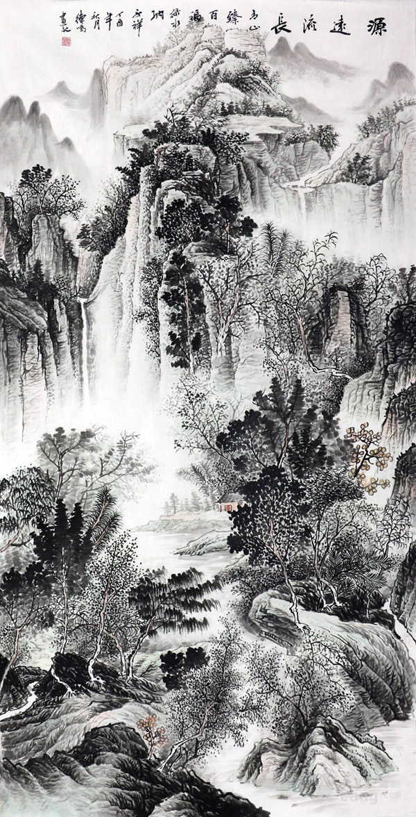 谢德鸣真迹手绘国画字画收藏水墨山水四尺竖幅山水画