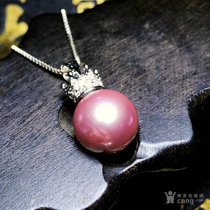 漂亮强光正圆贝宝珠!柔美香槟粉紫色深海贝珠海贝珍珠吊坠项链图3