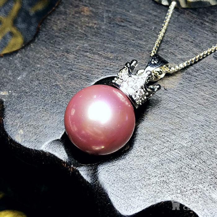 漂亮强光正圆贝宝珠!柔美香槟粉紫色深海贝珠海贝珍珠吊坠项链图2