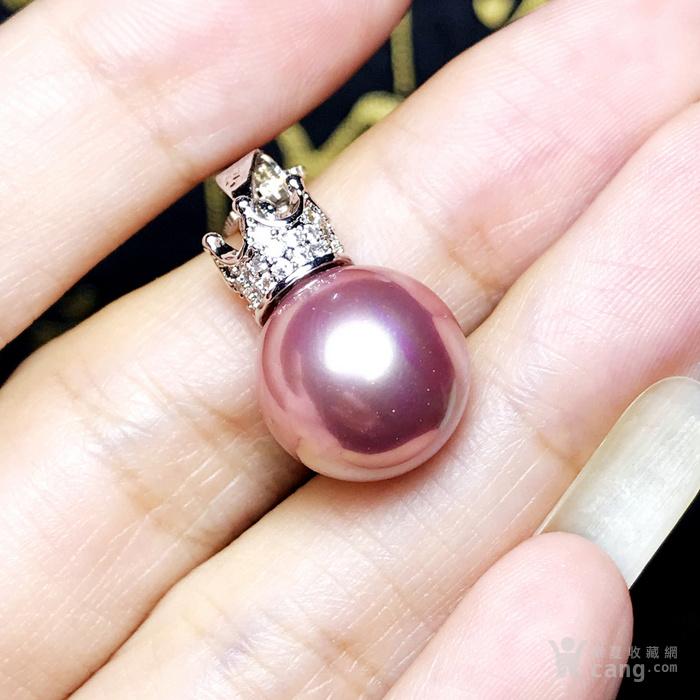 漂亮强光正圆贝宝珠!柔美香槟粉紫色深海贝珠海贝珍珠吊坠项链图10