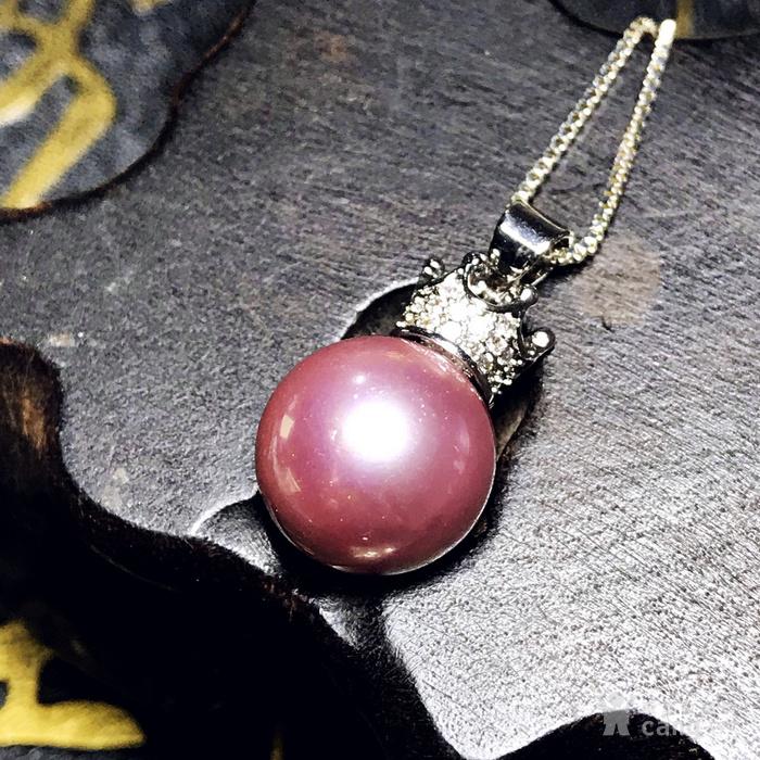 漂亮强光正圆贝宝珠!柔美香槟粉紫色深海贝珠海贝珍珠吊坠项链图5
