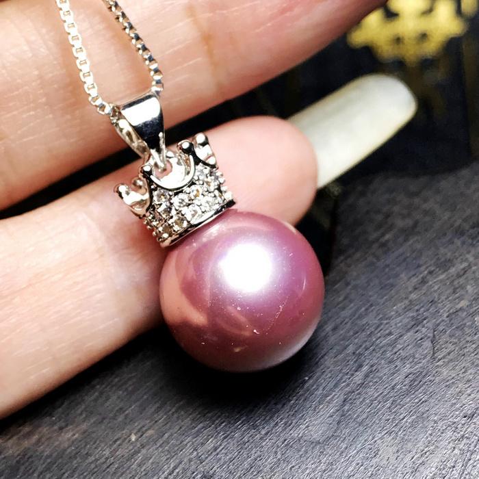 漂亮强光正圆贝宝珠!柔美香槟粉紫色深海贝珠海贝珍珠吊坠项链图1