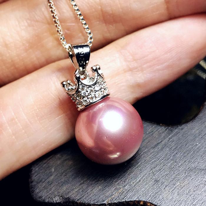 漂亮强光正圆贝宝珠!柔美香槟粉紫色深海贝珠海贝珍珠吊坠项链图6
