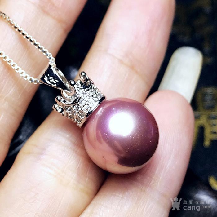 漂亮强光正圆贝宝珠!柔美香槟粉紫色深海贝珠海贝珍珠吊坠项链图12