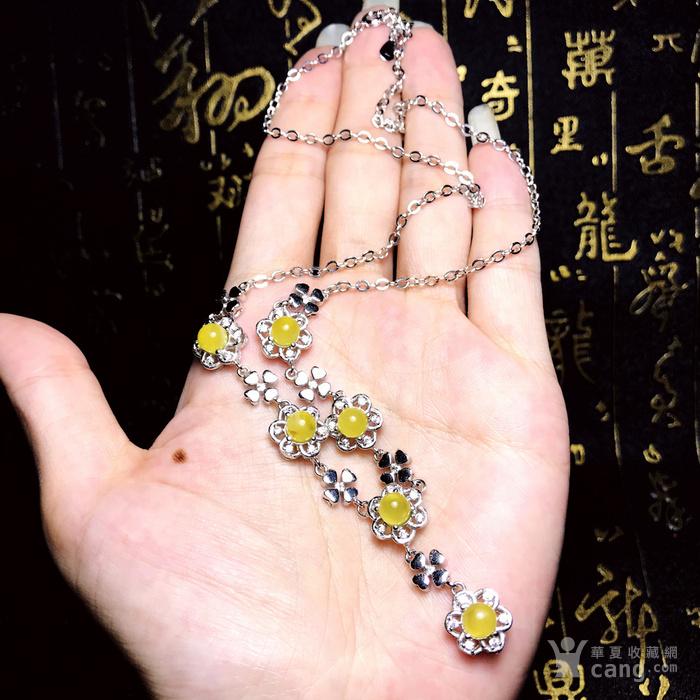 金黄蜜蜡项链!波罗的海天然原矿蜜蜡金绞蜜正圆珠银镶项链!图12