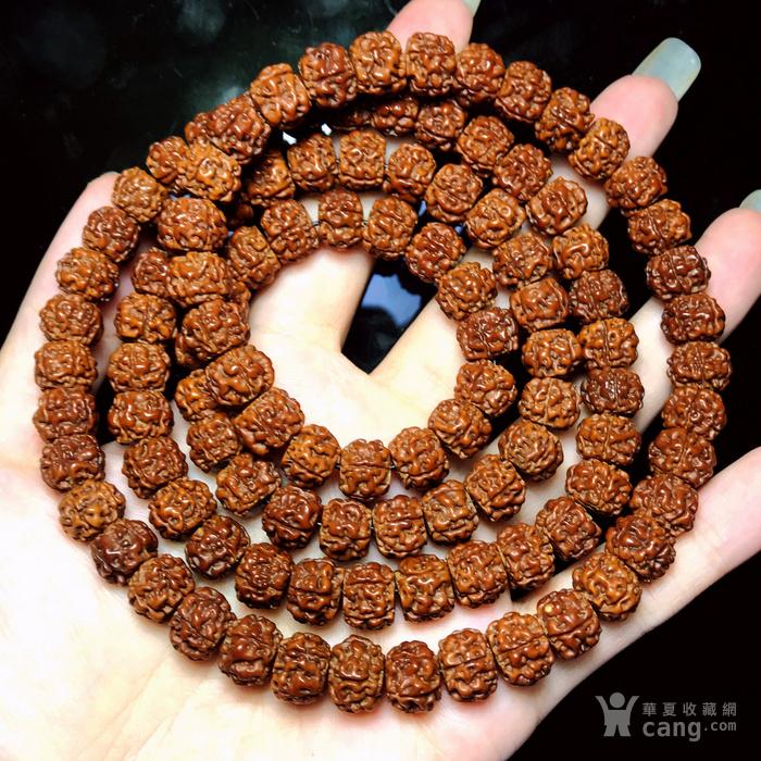 包浆漂亮!朋友纯手刷刷了三年的藏式金 刚菩提108佛珠手串图3