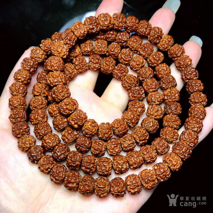 包浆漂亮!朋友纯手刷刷了三年的藏式金 刚菩提108佛珠手串图7