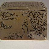 老淡色色寿山石微刻诗文四面山水纹大方印章