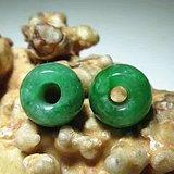有些年头 天然满辣绿 翡翠 算盆珠