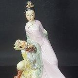 八十年代精美人物瓷塑 贵妃醉酒