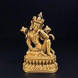 藏传 铜鎏金观自在菩萨