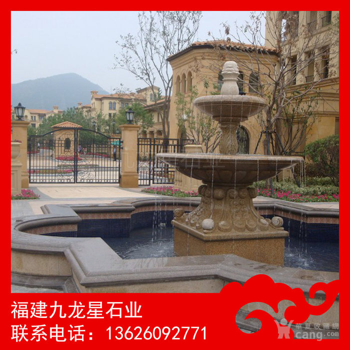 石雕喷泉 小区标配欧式喷泉 黄锈石音乐喷泉