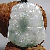 老坑冰种翡翠 飘蓝花 苏工 山水 挂件 水头足 工艺佳