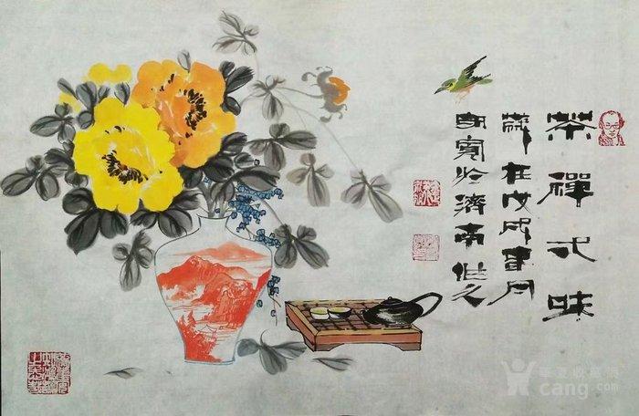 著名书画名家郑守宽小写意花瓶牡丹茶具国画精品