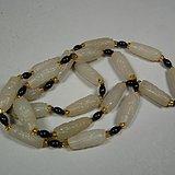 近现代和田白玉籽料通天孔卷云鱼头勒子珠项链一串