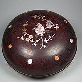 老酸枝红木镶嵌螺钿多宝喜上眉梢大圆盒