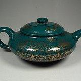 老红泥紫砂满绿釉描金花卉纹大圆扁茶壶
