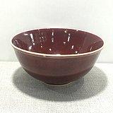 清康熙红釉碗